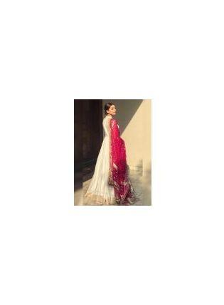 White Zari Work Resham And Art Silk Party Wear Elegant Gown