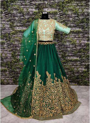 A-Line Embroidered Green Lehenga Choli Set