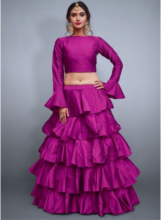 Purple Taffeta Silk Base Ruffle Lehenga Skirt With Crop Top