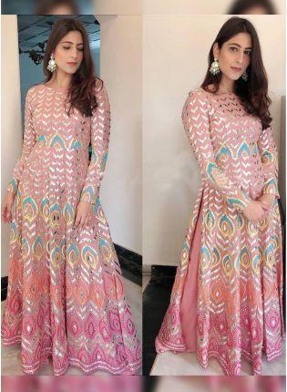 Pink Zari Resham Floor Length Ceremonial Churidar Suit