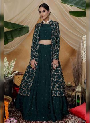 Remarkable Turtle Green Silk Base Sequin And Resham Work Lehenga Choli