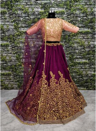 A-Line Embroidered Purpul Lehenga Choli Set
