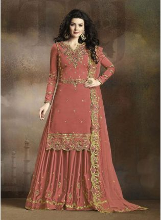 Peach Zari Resham Casual Pakistani Palazzo Salwar Suit