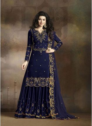 Navy Blue Zari Resham Casual Pakistani Palazzo Salwar Suit