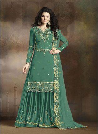 Pastel Green Resham Casual Pakistani Palazzo Suit