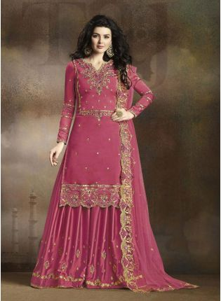 Pink Zari Resham Casual Pakistani Palazzo Salwar Suit