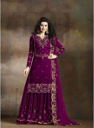 Purple Zari Resham Casual Pakistani Palazzo Salwar Suit