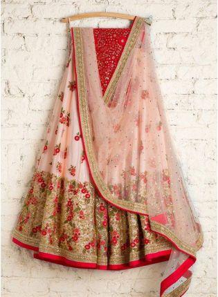 Pale Red Zari Work And Soft Net Flared Lehenga Choli