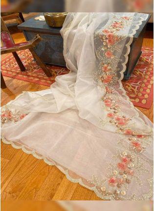 White Zari Sequin Organza Embroidered Saree
