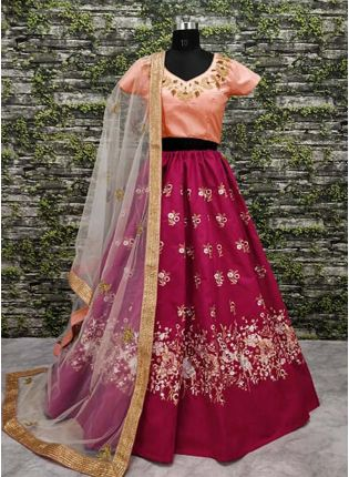 Pink Color Lehenga Paired With Blush Pink Blouse With Dupatta Set