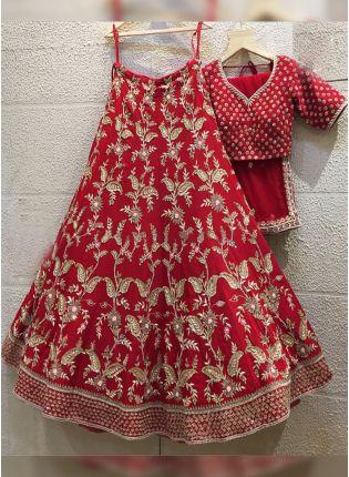 Red Zariwork And Tafetta Silk Flared Lehenga Choli