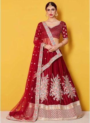 Heavily Embellished Gulkand Maroon Bridal Lehenga Choli