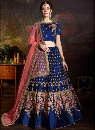 Royal Blue Color Satin Base Embroidered Lehenga Choli