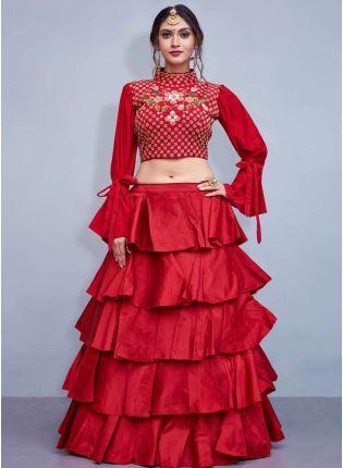Ox Red Capricorn Style Embroidered Lehenga choli Skirt