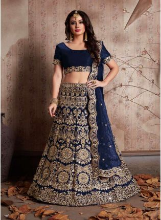 Navy Blue Machine Embroidery Lehenga Choli With Mirror Work