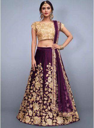 Delicate Purple Heavily Embellished Wedding Wears Lehenga Choli