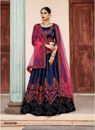 Elegant Navy Blue Colored Bridal Wear Lehenga Choli