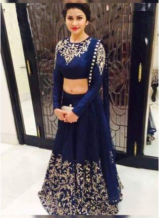 Navy Blue Color Party Wear Designer Lehenga Choli