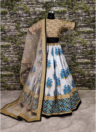 Botanical Flower Butta Printed On Lehenga With Heavily Embroidered Blouse