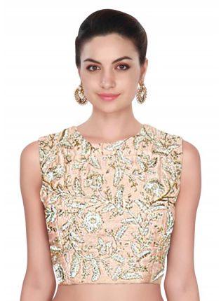 Peach Raw Silk Dori Work Designer Blouse