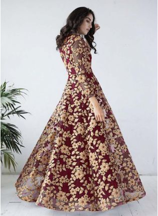 Maroon-Gold Ribbon work flared gown