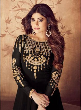 Black Stonework And Zari Georgette Casual Anarkali Salwar Suit