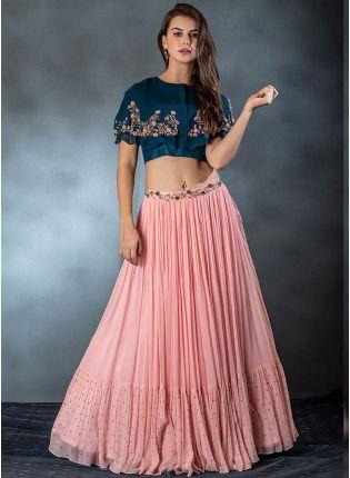Elegant And Party Wear Peach Color Ruffle Style Lehenga Choli