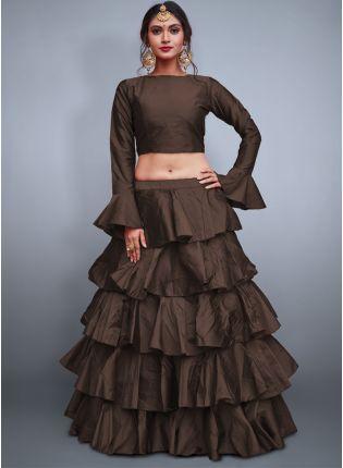 Chocolaty Brown Taffeta Silk Base Ruffle Lehenga Skirt With Crop Top