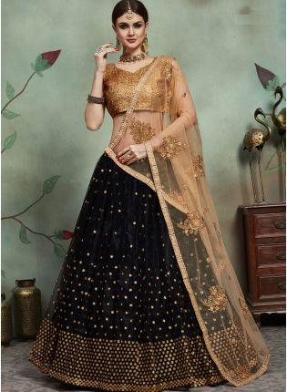 Mind-Blowing Black Color Soft Net Base Sequins Work Designer Lehenga Choli