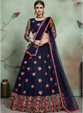 Inspiring Navy Blue Color Soft Net Base Thread And Embroidery Work Lehenga Choli