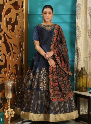 Outstanding Navy Blue Silk Base Intricate Hand Work Designer Gown