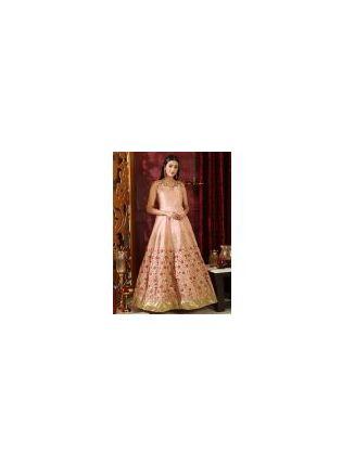Stunning Peach Pink Silk Base Reception Wear Designer Ethnic Gown