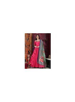 Tempting Deep Pink Silk Base Trendy Festive Wear Digital Printed Gown