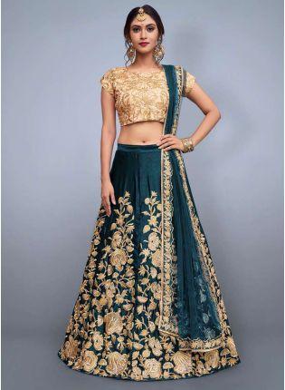 Delicate Rama Green Heavily Embellished Wedding Wears Lehenga Choli