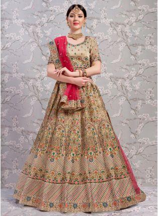 Adorable Beige And Red Silk Base Sangeet Designer Lehenga Choli