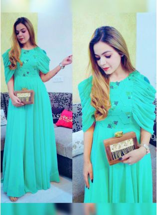 Aqua Turquoise Colored Super Comfortable Designer Gown For Any Occasion