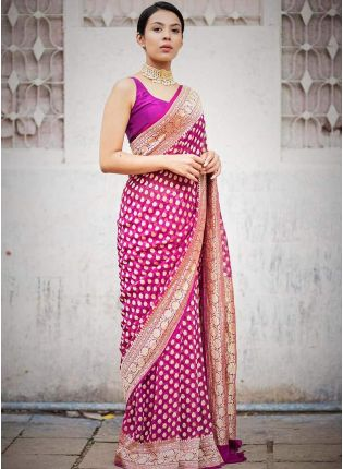 Dramatic Bright Pink Jacquard Silk Base Foil Printed Saree