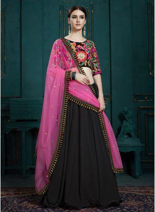 Trendy Black Georgette sequins and Thread Work Lehenga choli