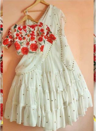 Trendy White Designer Georgette Base Sequins Work Lehenga Choli