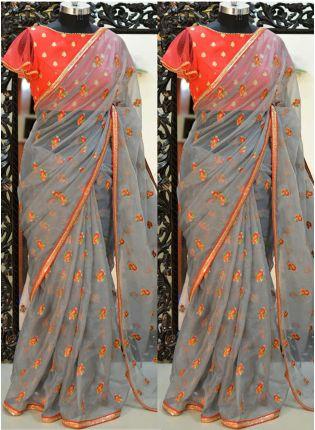 Grey Resham And Organza Fabric Embroidered Saree