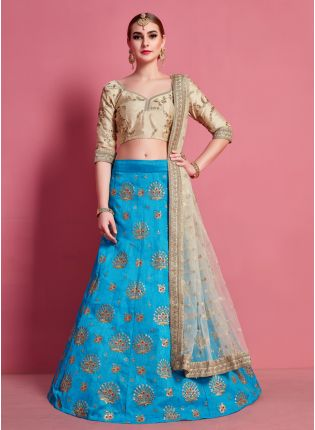 Fantastic Sky Blue Heavily Embroidered Art Silk Base Lehenga Choli