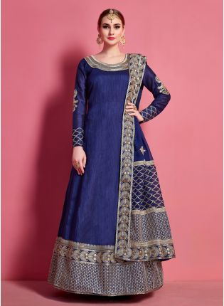 Navy Blue Full Length Designer Dress