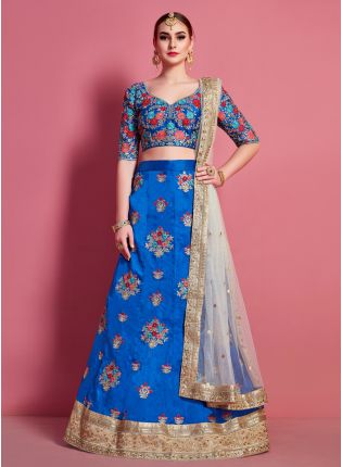 Ideal Faroese Floral Motif Art Silk Base Wedding Wears Lehenga Choli