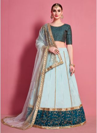 Delicate Sea Green Heavily Embellished Art Silk Base Lehenga Choli