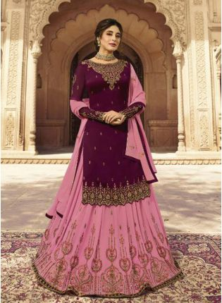 Pink Zari Resham Georgette Ceremonial Churidar Lehenga Salwar Suit