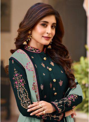 Green Zari Resham Georgette Sangeet Straight Churidar Salwar Suit