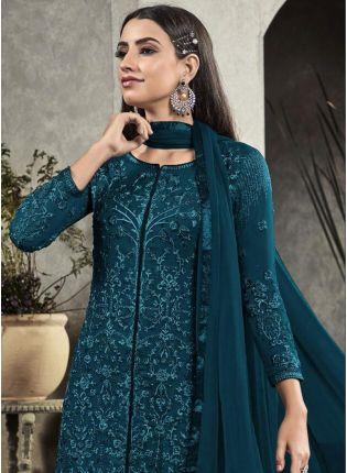 Green Resham Georgette Trouser Churidar Salwar Suit For Festivals
