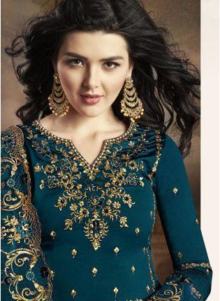 Rama Green Zari Resham Casual Pakistani Palazzo Salwar Suit