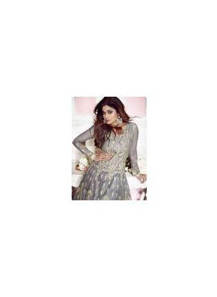Grey Stonework And Raw Silk Festival Anarkali Salwar Suit