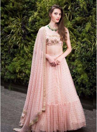 Pink Color Georgette Base Designer Party Wear Ruffle Lehenga Choli